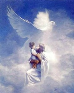 Jesus and child in clouds with dove